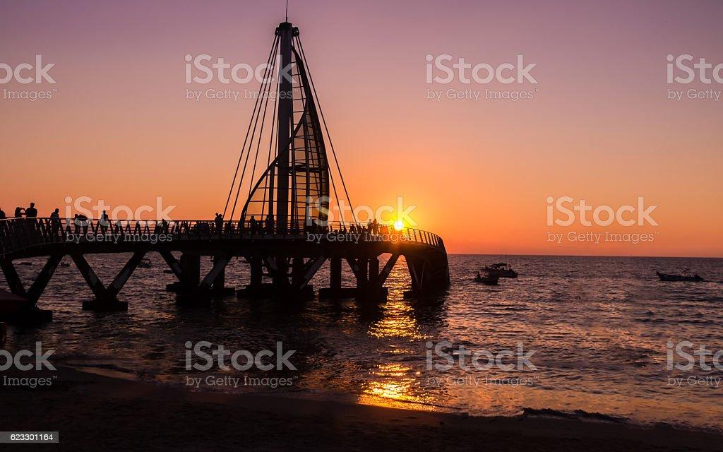Los Muertos Pier at sunset - Puerto Vallarta, Jalisco, Mexico stock photo