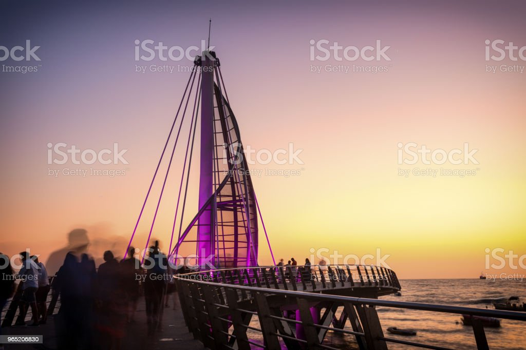 Los Muertos pier in Mexico royalty-free stock photo
