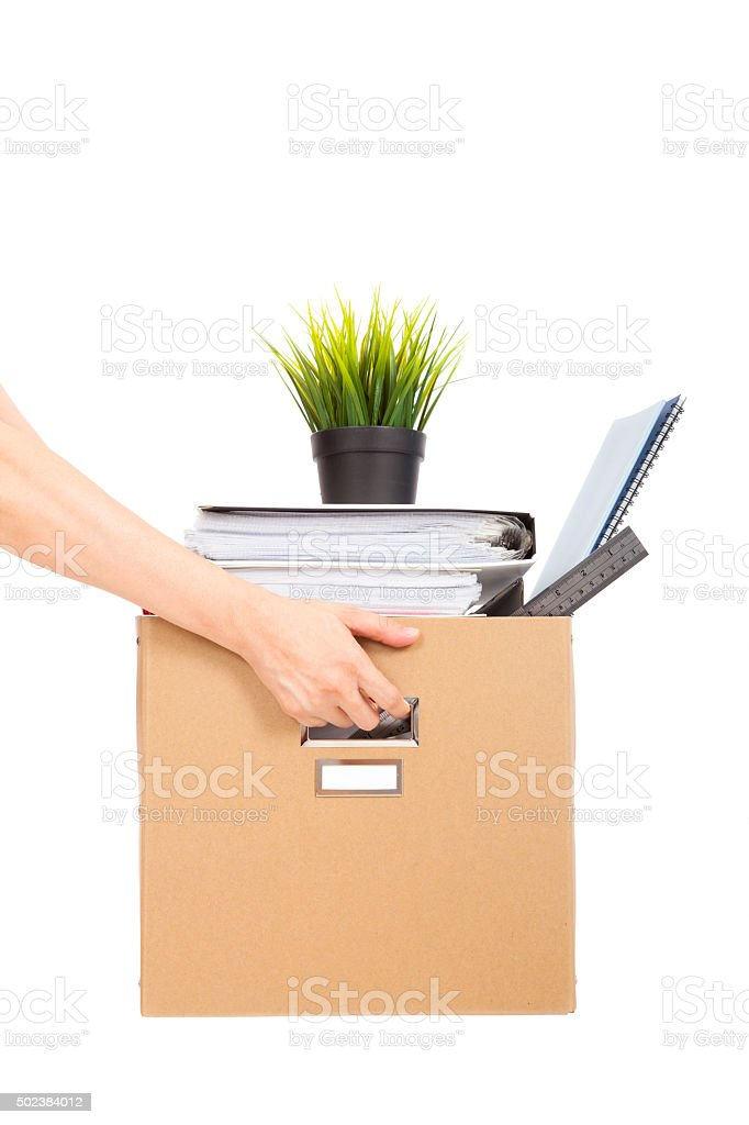 lose job concept.hand holding the box of laid off employee stock photo