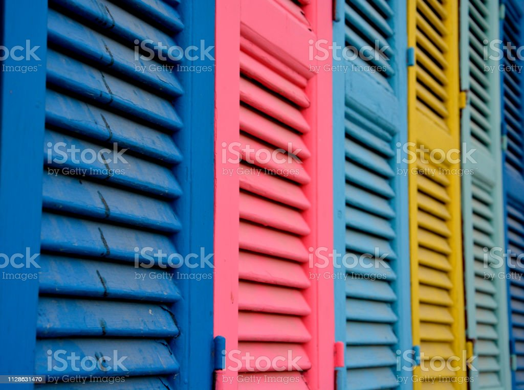 lose up of Brightly Coloured Wooden Vintage Windows stock photo