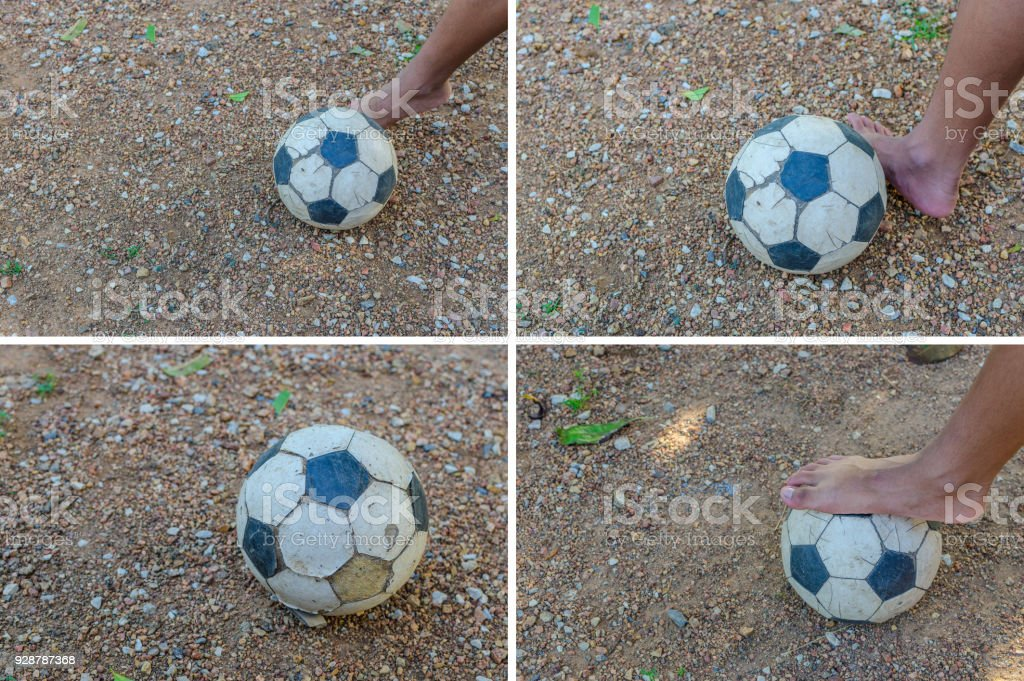 lose up of football player tread on the ball stock photo