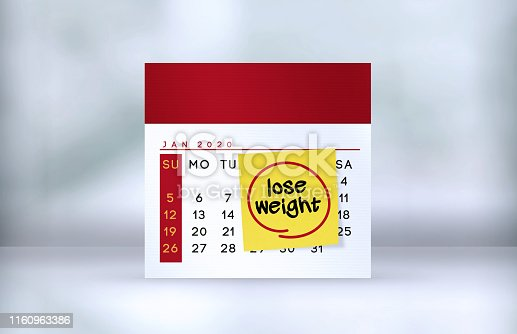 Lose Weight Note paper on the calendar on the table