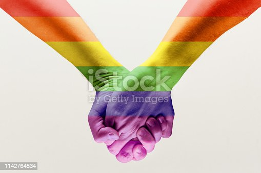 Right to choose your own way. Ð¡loseup shot of a gay couple holding hands, patterned as the rainbow flag isolated on white studio background. Concept of LGBT, activism, community and freedom.