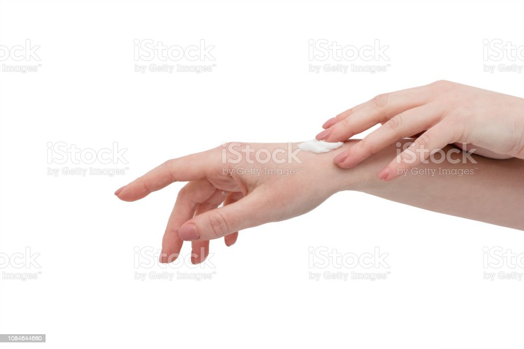 Sloseup Of Female Hands Applying Hand Cream Spa Antiaging