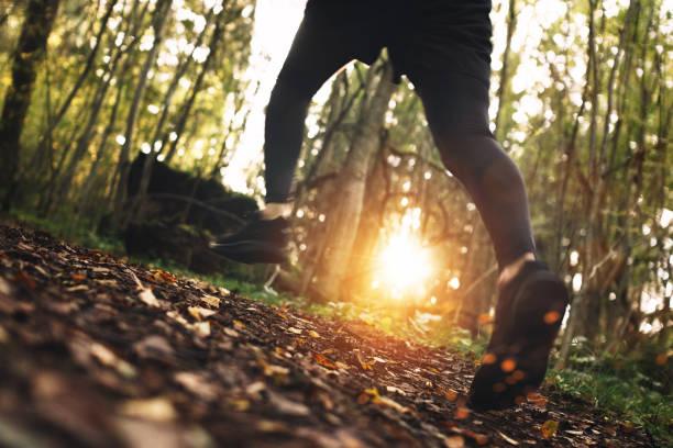 verlieren-Up Foto von schnell laufenden Fußpilz über unwegsames Gelände im Wald. Absichtlich verschwommene Bewegungen. Sonnenlicht-Effekt – Foto