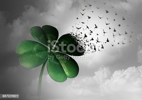 Losing luck or spreading good fortune concept as a four leaf clover transforming into flying birds as a surreal communication metaphor for financial and life success or decay loss and failure  with 3D illustration elements.