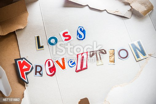 A still life conceptual photograph of LOSS PREVENTION spelled out in letters.  Loss Prevention (set protection) is the practical application of business policies and procedures to prevent the loss of inventory or revenue in a retail environment (shrink). An effective loss prevention program will work proactively to prevent shrink rather than simply respond reactively after the loss occurs.