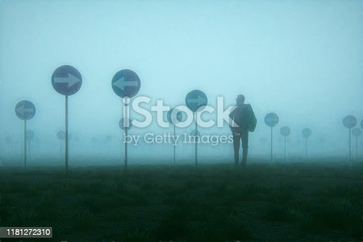 Lost and confused businessman walking in meadow. This is entirely 3D generated image.