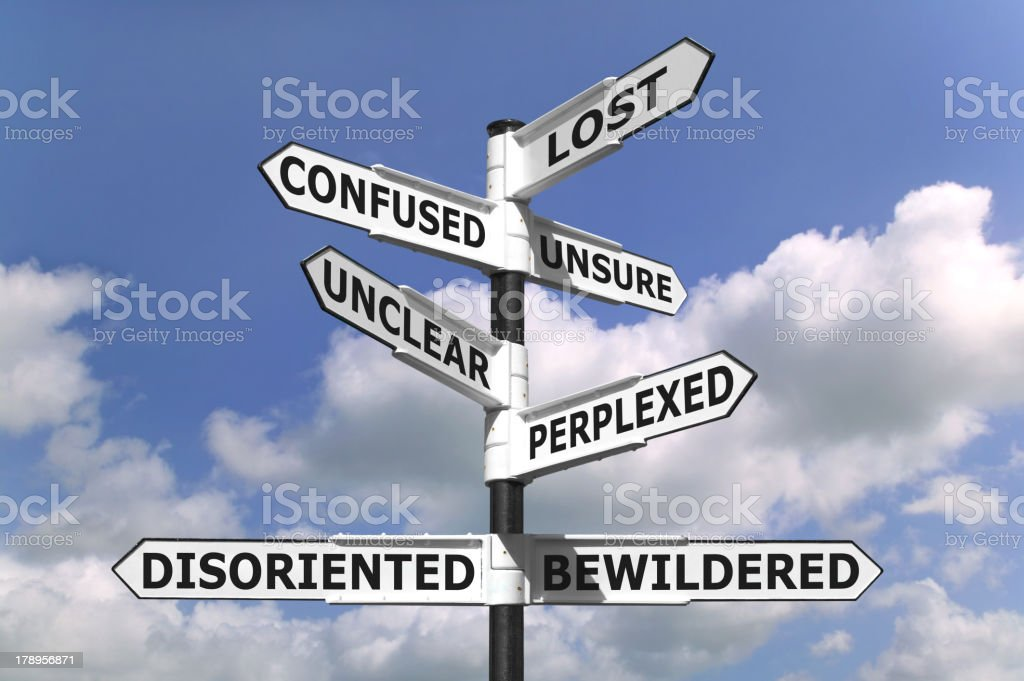 Lost and Confused Signpost stock photo