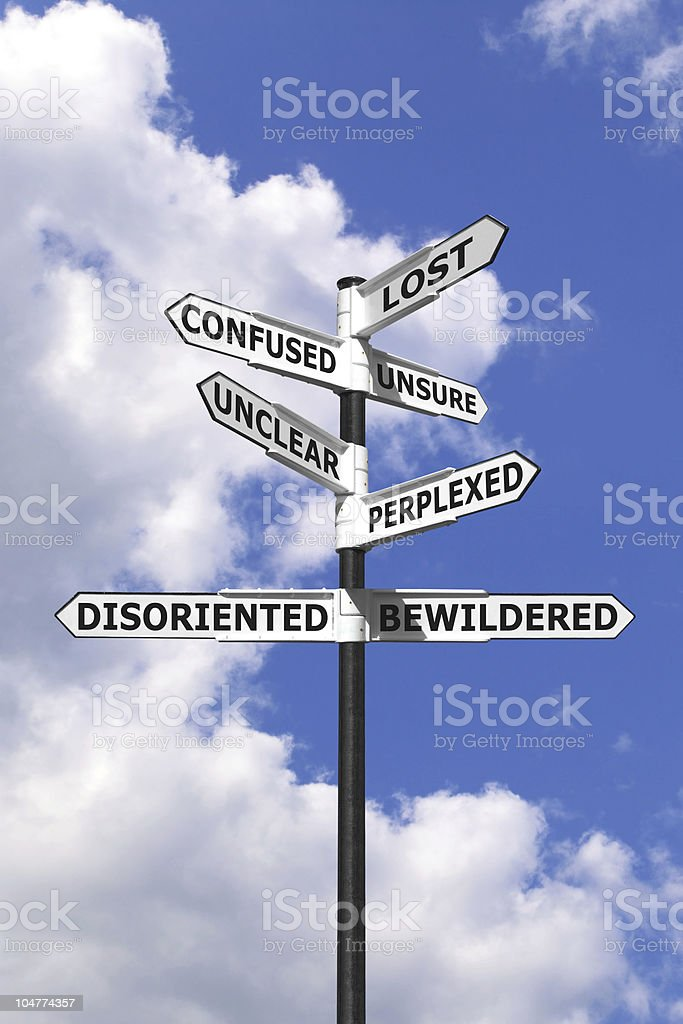 Lost and Confused signpost vertical stock photo