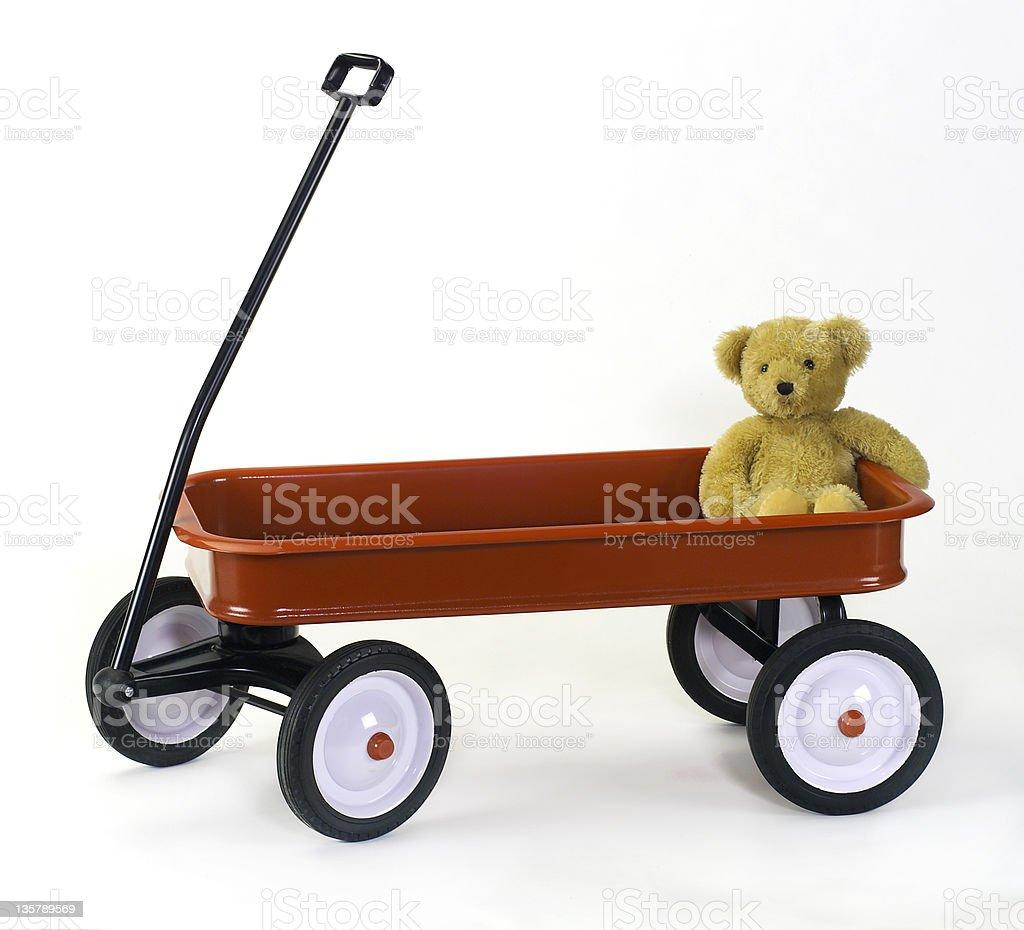 Lost und einsam Teddybär in klassischen child's red wagon – Foto