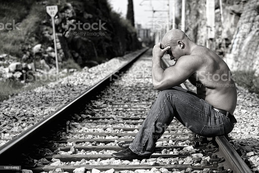 Lost at the railroad tracks royalty-free stock photo