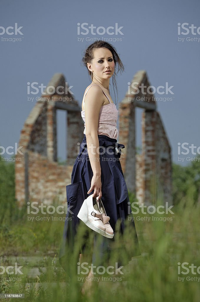 Lost beautiful Lady on a desolate place stock photo