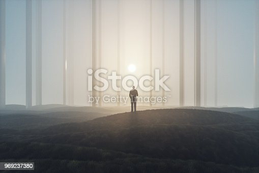 Lost businessman in foggy landscape with mirror columns.