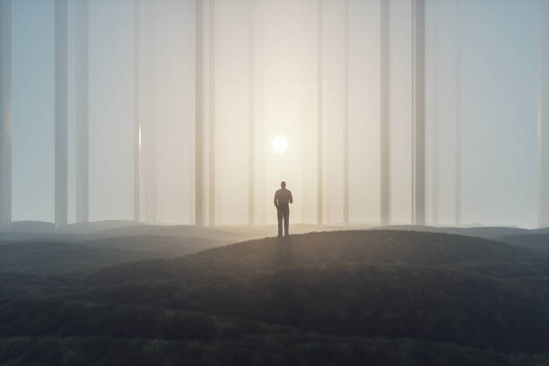 Lost businessman in foggy landscape with mirror columns Lost businessman in foggy landscape with mirror columns. lost stock pictures, royalty-free photos & images