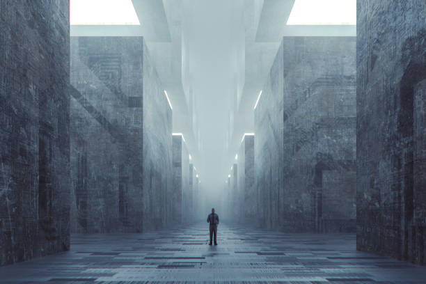 lost businessman in futuristic dark ominous concrete city - lost stock photos and pictures