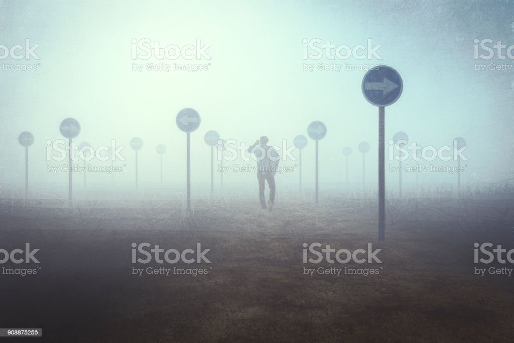 Lost businessman stock photo