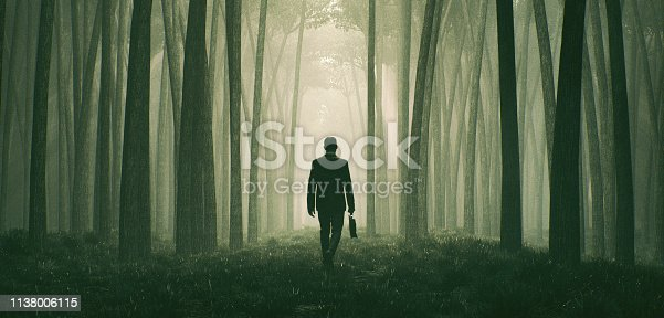Lost businessman walking in the forest at night. This is entirely 3D generated image.