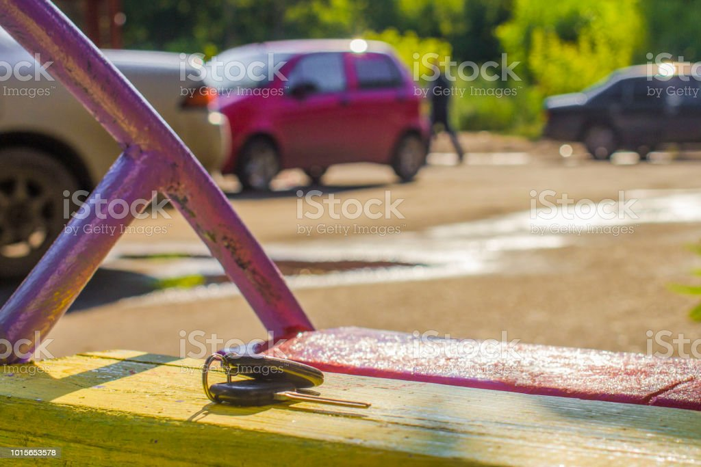 Lost Car Keys >> Lost Car Keys On The Bench On A Blurred Background Of