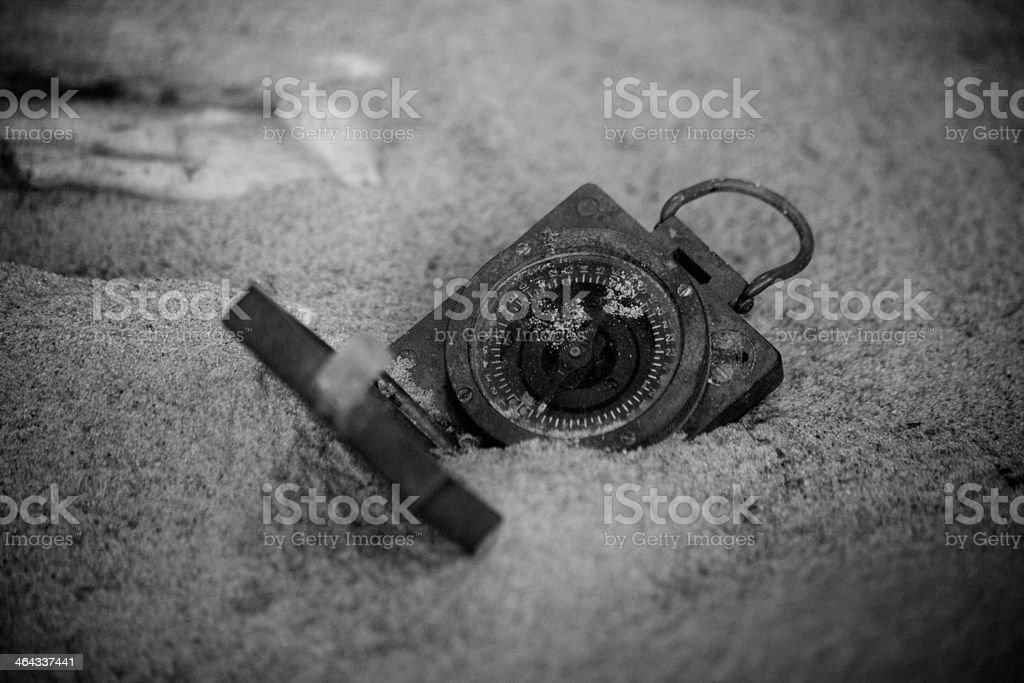 Lost compass stock photo