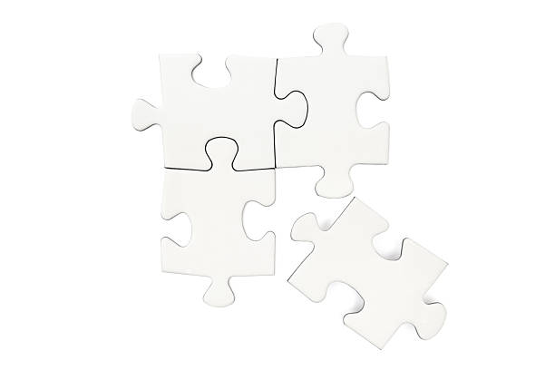 Lost Connection Four blank puzzle pieces. One of them disconnected. Isolated on a white background- puzzle pieces stock pictures, royalty-free photos & images