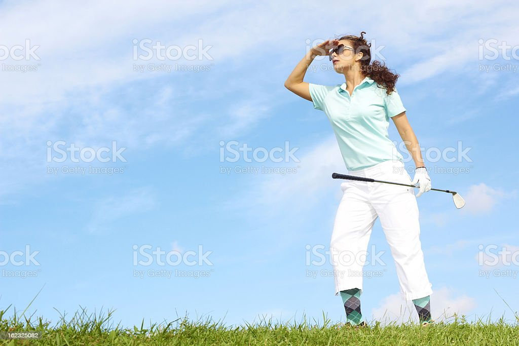 Lost Female Golfer Looking For Golfball royalty-free stock photo