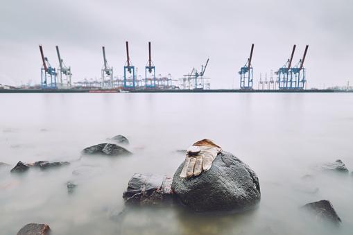 Lost glove in the harbor
