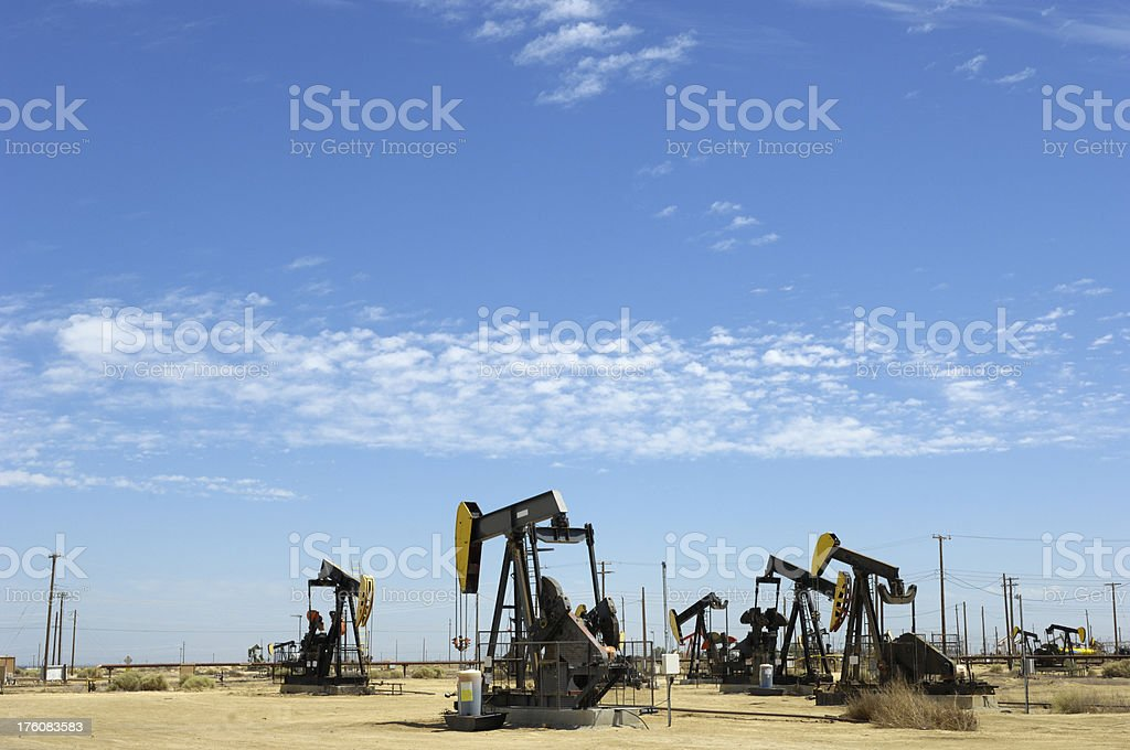 Lost Hills Oil Pumpjacks stock photo