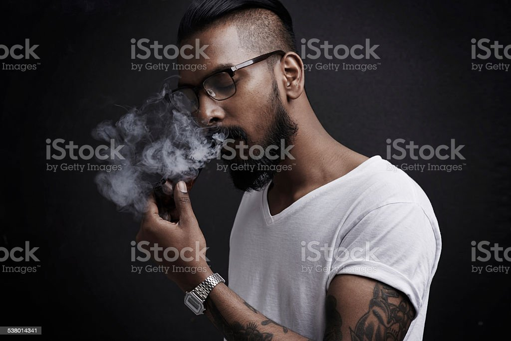 Lost in a world of smoke stock photo