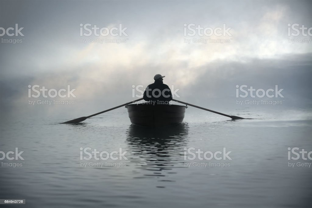 Lost in fog stock photo