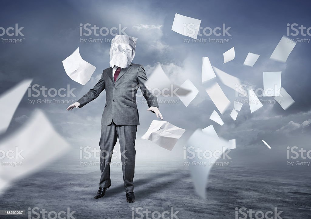 Lost In Paperwork stock photo