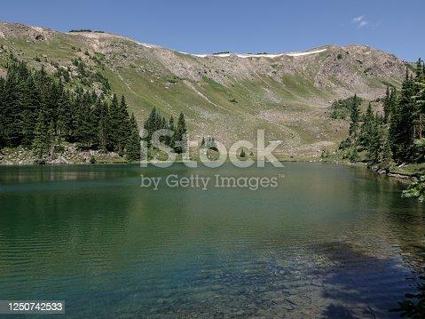 Lost Lake in the Ten Mile Range of Colorado. Wilderness peaks behind.
