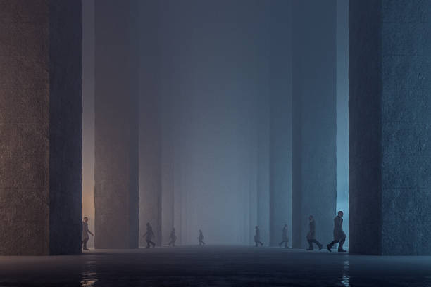 lost men walking in dark foggy futuristic streets - conspiracy стоковые фото и изображения