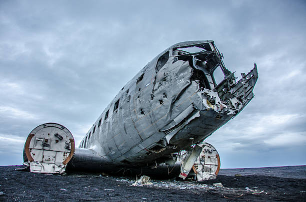 Lost plane wreck in wilderness Plane wreck in wilderness in Iceland sólheimasandur stock pictures, royalty-free photos & images