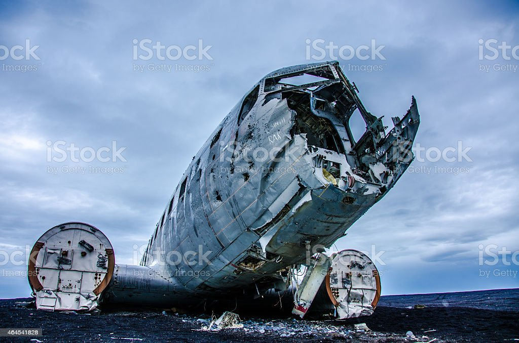 Lost plane wreck in wilderness stock photo
