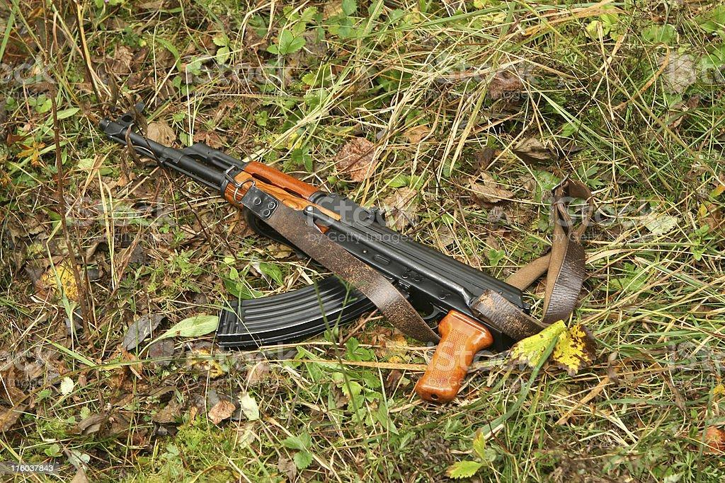 Lost russian machine gun on forest. stock photo