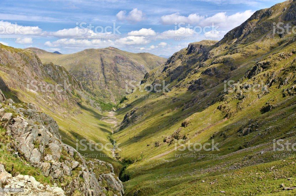 Lost Valley, Glencoe, Scotland with ridge and steep slopes stock photo