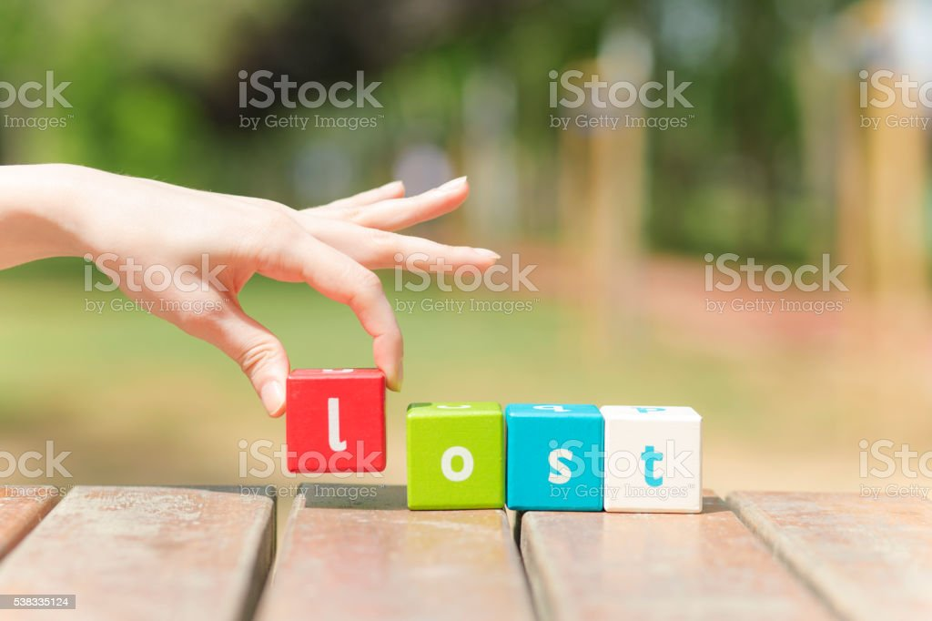 Lost, word and hand stock photo