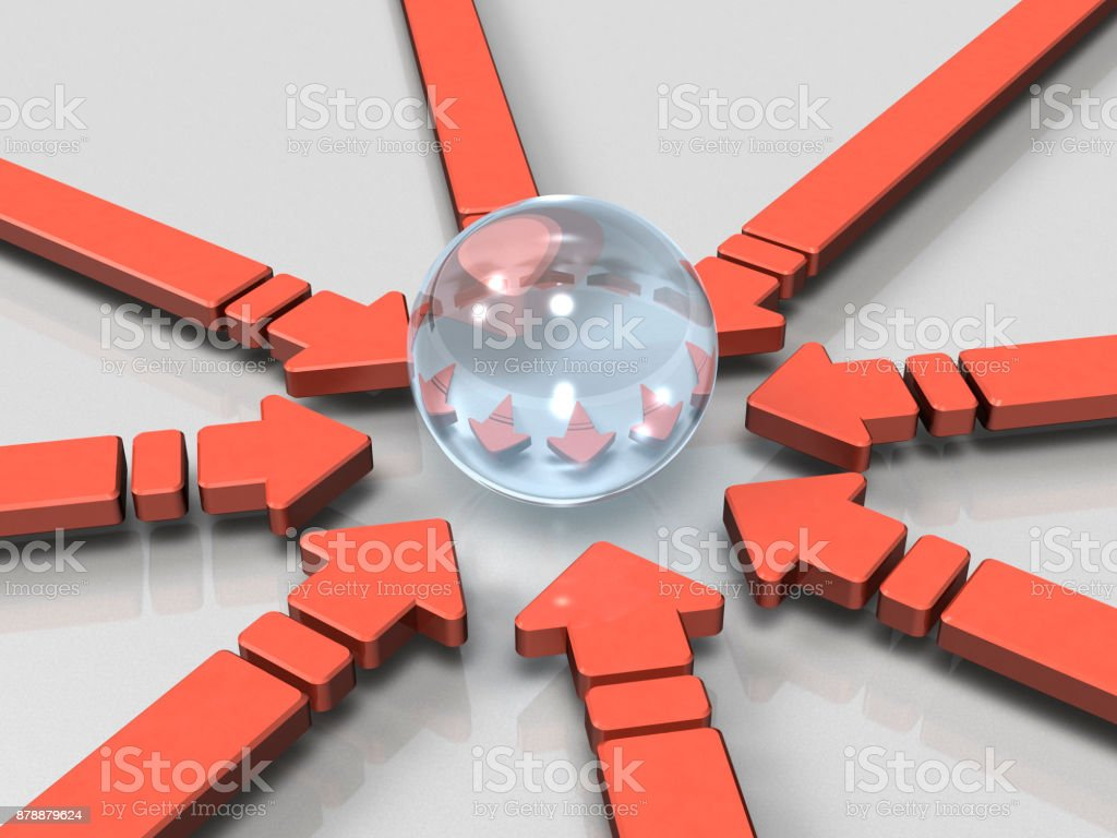 A lot of arrows are concentrated in one place. stock photo