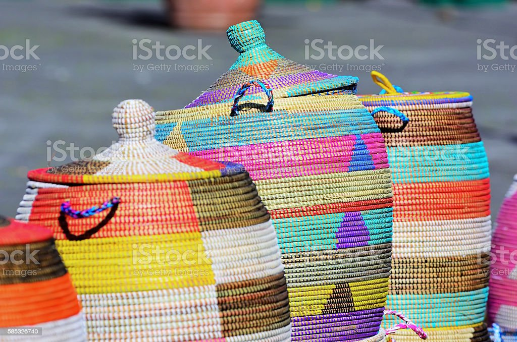lot of baskets of sea grass stock photo