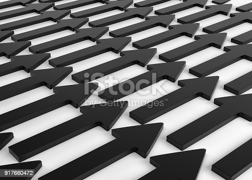 118386322 istock photo A lot of black arrows laying down on white background. 3d render 917660472