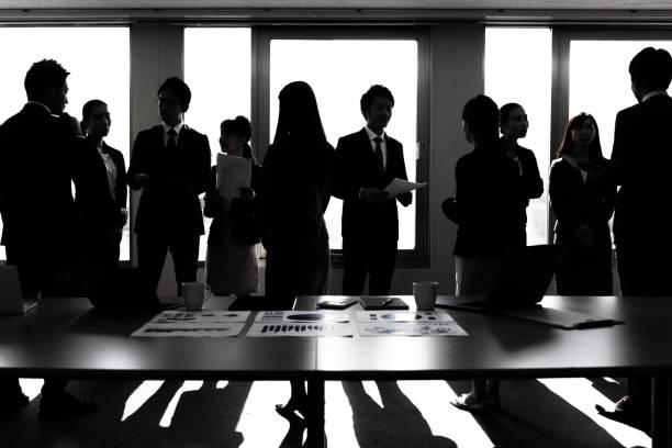 a lot of businessperson in office. business group. corporate business. - high contrast stock pictures, royalty-free photos & images