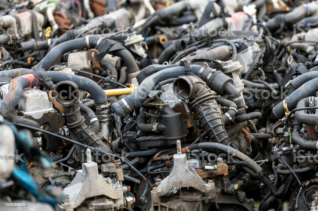 A lot of car engines. Car Assembly, spare parts trade stock photo