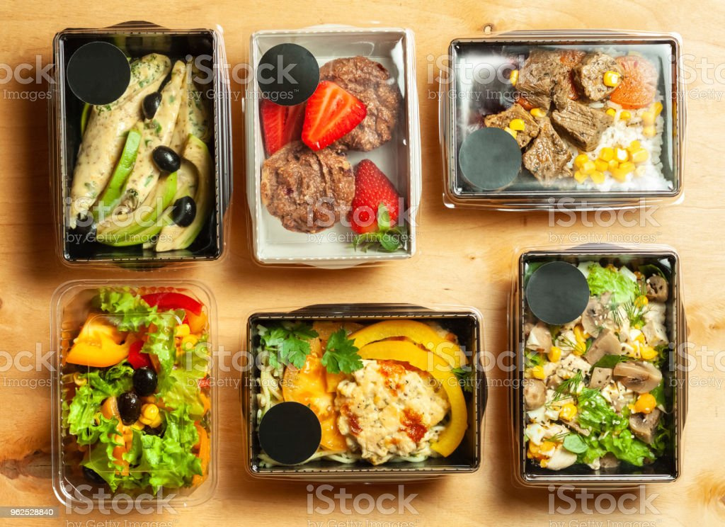 A lot of cardboard boxes with food - Royalty-free Beef Stock Photo