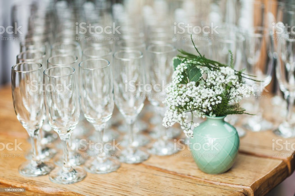A Lot Of Champagne Glasses Close Up On Wedding Reception