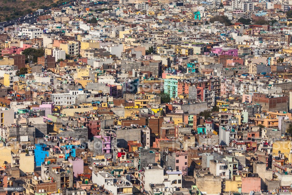 A lot of colored buildings, top view. stock photo