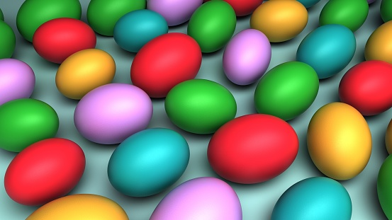 istock A lot of colorful eggs. Easter background. 3D-rendering. 1212025425