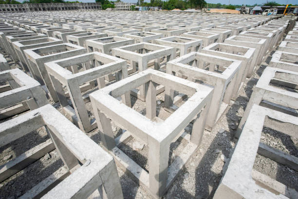 a lot of concrete square shape. low quality precast box concrete on open space. constructing an artificial reef using concrete blocks. background, texture. bright sunlight. thailand. - artificial reef stock pictures, royalty-free photos & images