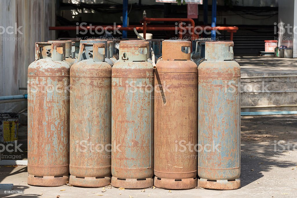 lot of Danger gas bottle. stock photo