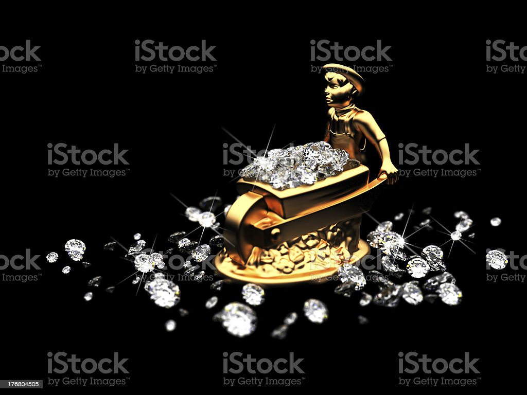 lot of diamonds and golden statuette royalty-free stock photo